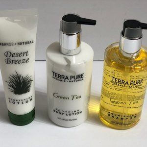 Terra Pure Green Tea Organic Lotion Shampoo X3LOT